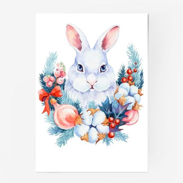 Постер «Новогодний кролик»