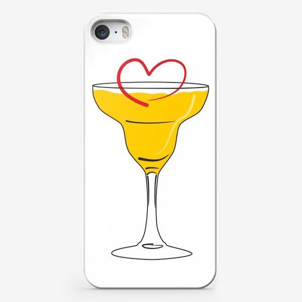 Чехол iPhone «Яркий желтый коктейль в бокале и сердечко »