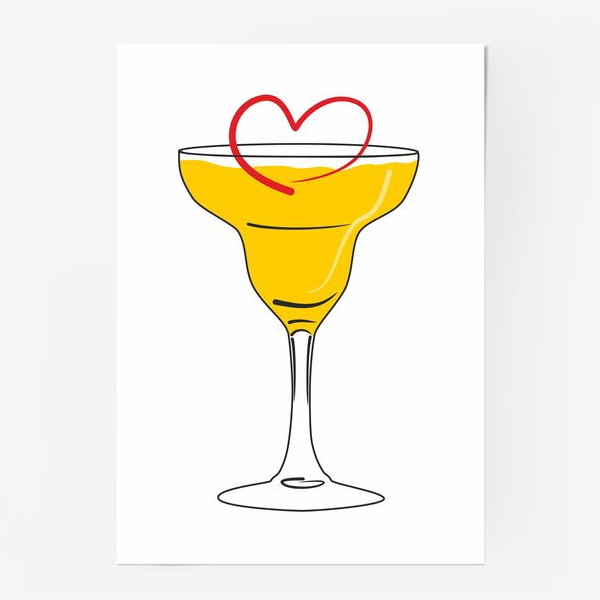 Постер «Яркий желтый коктейль в бокале и сердечко »