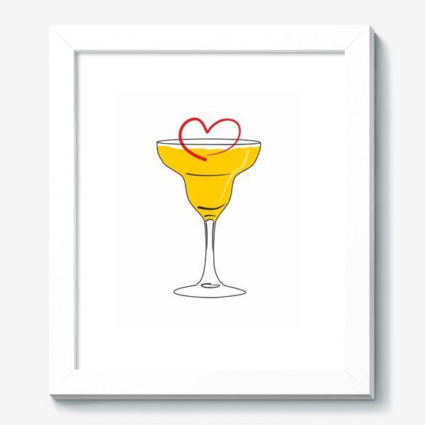 Картина «Яркий желтый коктейль в бокале и сердечко »