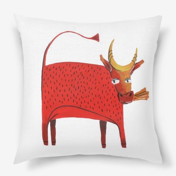 Подушка «Красная корова. Символ года.»