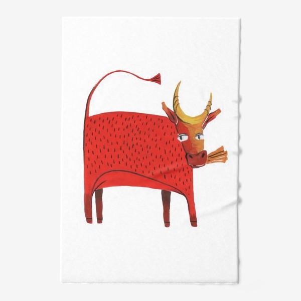 Полотенце «Красная корова. Символ года.»