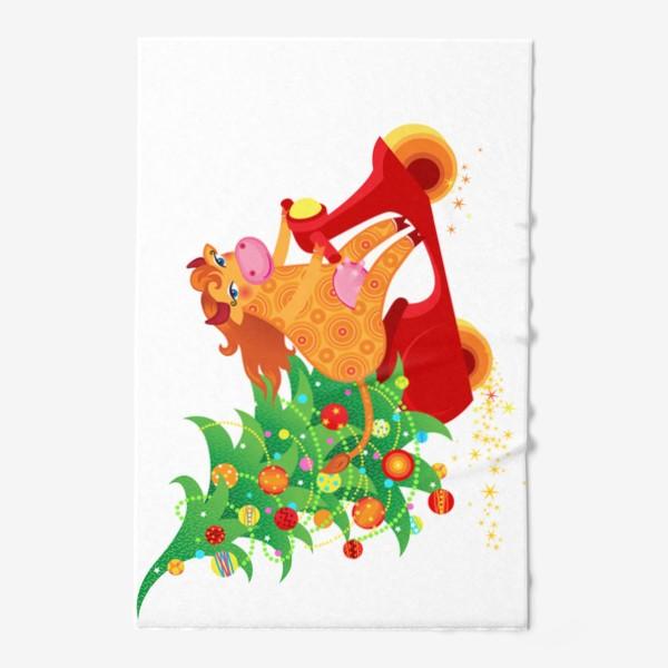 Полотенце « Веселая рыжая корова на красном скутере. Год Быка 2021»