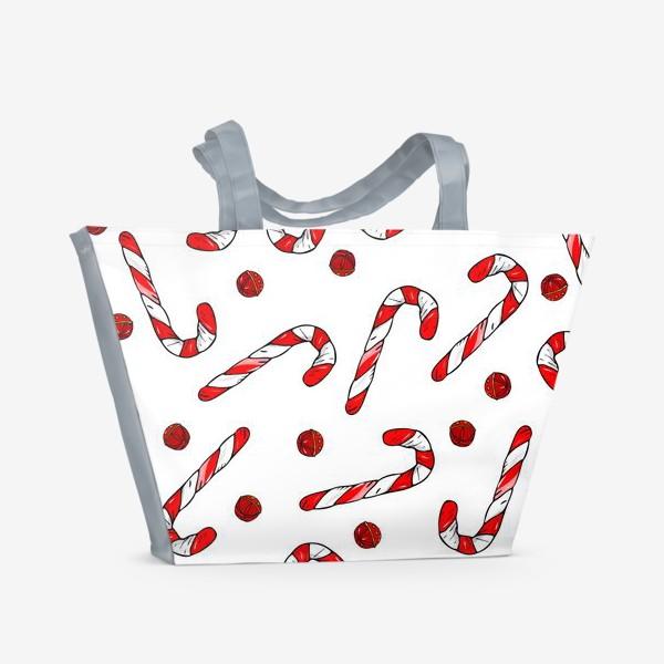 Пляжная сумка «сладкая трость и колокольчики»