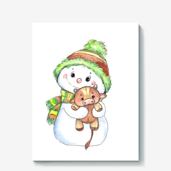 Холст «снеговичок с быком»