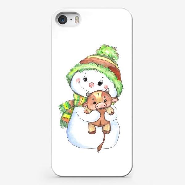Чехол iPhone «снеговичок с быком»
