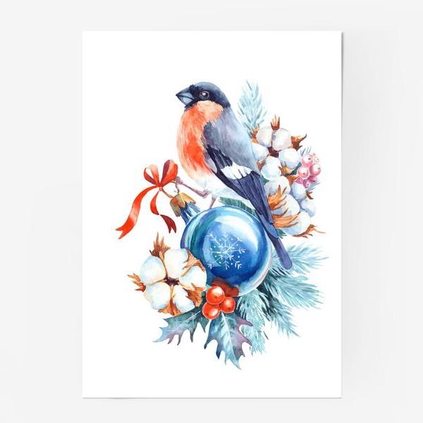 Постер «Новогодний снегирь»