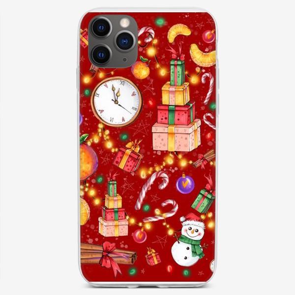 Чехол iPhone «Новогоднее ассорти: снеговик, мандарин, гирлянда - красный фон»
