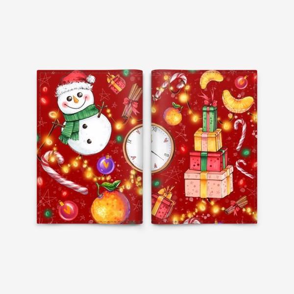 Обложка для паспорта «Новогоднее ассорти: снеговик, мандарин, гирлянда - красный фон»