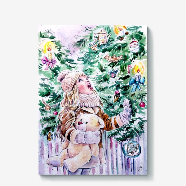 Холст «девочка со снежинками»