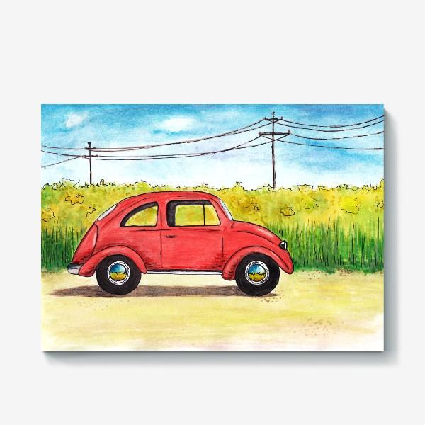 Холст «Винтажный красный ретро автомобиль на фоне цветочного поля и голубого неба»