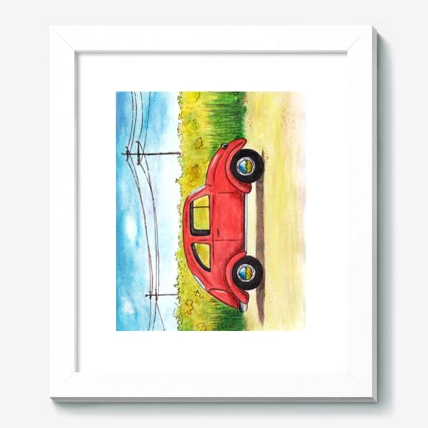 Картина «Винтажный красный ретро автомобиль на фоне цветочного поля и голубого неба»