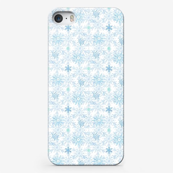Чехол iPhone «Голубые снежинки»