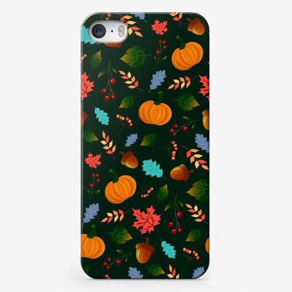 Чехол iPhone «тыквы и листья на зеленом фоне»