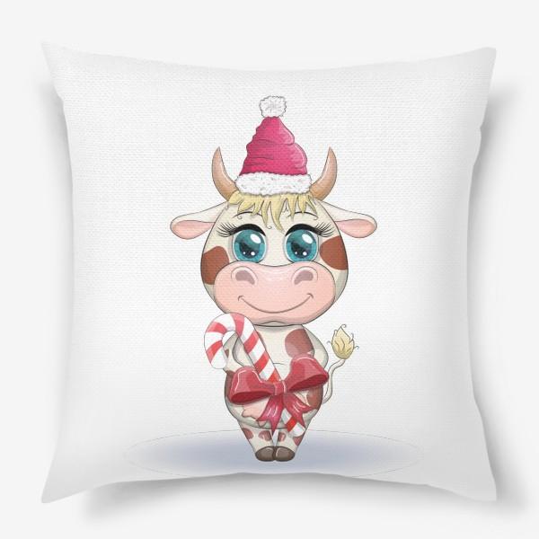 Подушка «Бык, символ 2021 года, корова с кенди-кейн и в шапке Санта-Клауса»