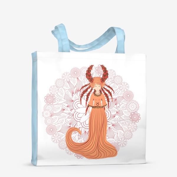 Сумка-шоппер «Знак зодиака Телец и цветочная мандала»