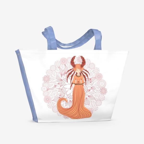 Пляжная сумка «Знак зодиака Телец и цветочная мандала»