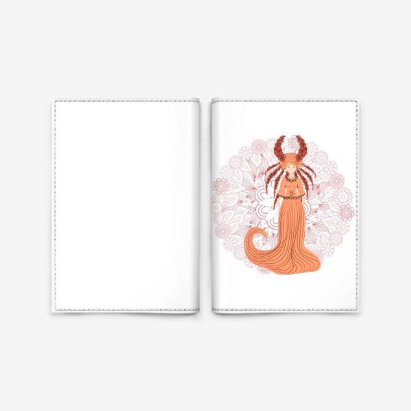 Обложка для паспорта «Знак зодиака Телец и цветочная мандала»