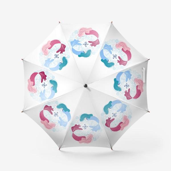Зонт «Знак зодиака Рыбы и цветочная мандала»