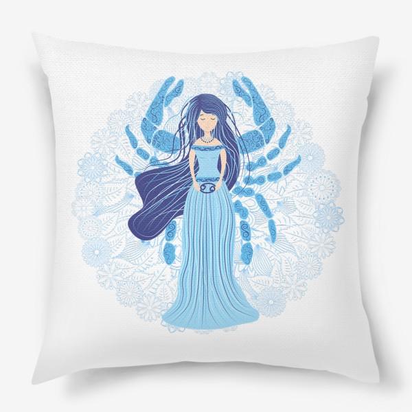 Подушка «Знак зодиака Рак и цветочная мандала»