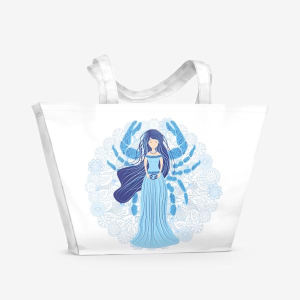 Пляжная сумка «Знак зодиака Рак и цветочная мандала»