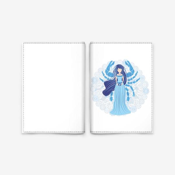 Обложка для паспорта «Знак зодиака Рак и цветочная мандала»