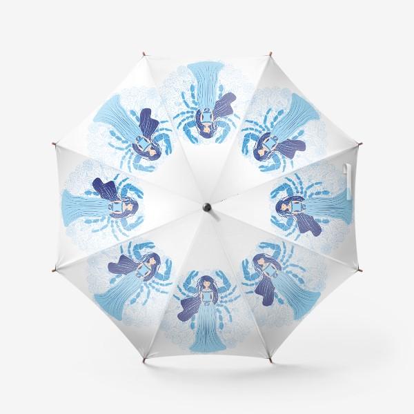 Зонт «Знак зодиака Рак и цветочная мандала»