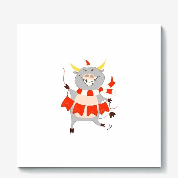 Холст «Бычок с новогодней гирляндой Флажки Рождество»