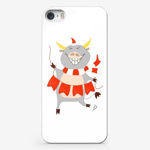 Чехол iPhone «Бычок с новогодней гирляндой Флажки Рождество»