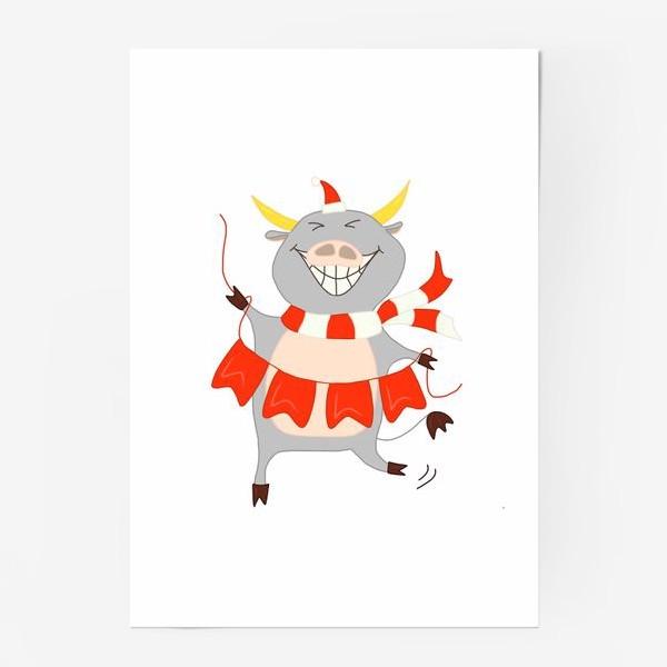 Постер «Бычок с новогодней гирляндой Флажки Рождество»