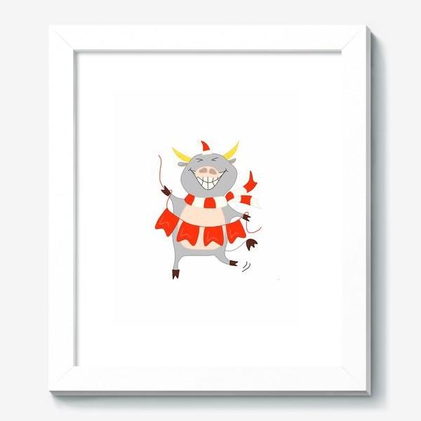 Картина «Бычок с новогодней гирляндой Флажки Рождество»