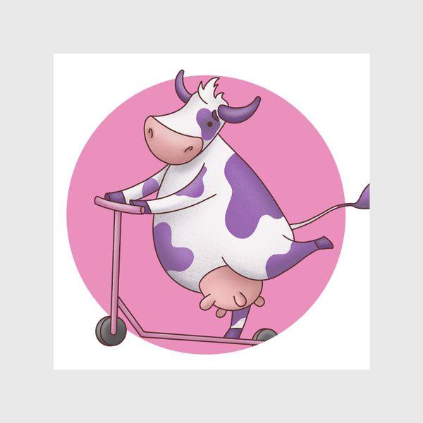 Скатерть «корова на самокате»