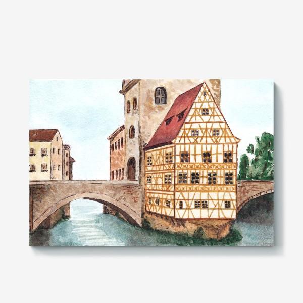 Холст «Акварельный старый город в Германии, фахверковый дом»