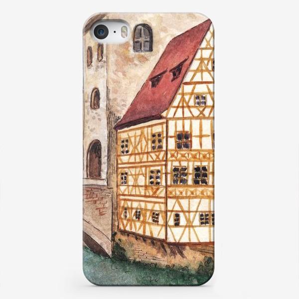 Чехол iPhone «Акварельный старый город в Германии, фахверковый дом»