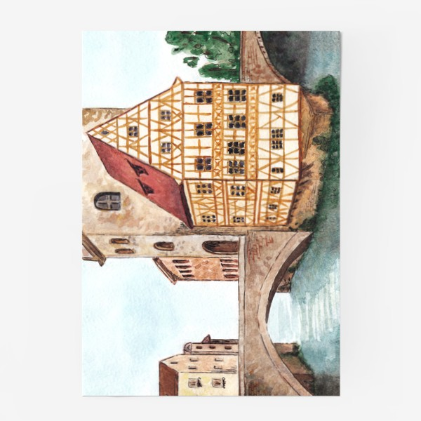 Постер «Акварельный старый город в Германии, фахверковый дом»