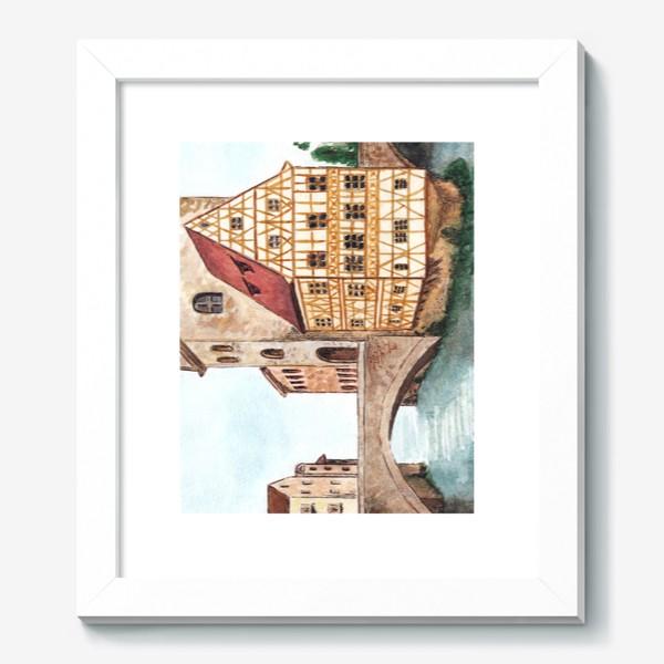 Картина «Акварельный старый город в Германии, фахверковый дом»