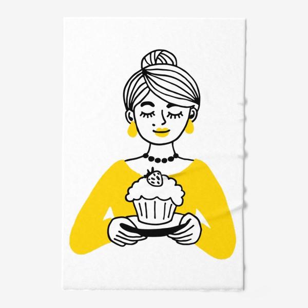 Полотенце «Девушка с кексом»