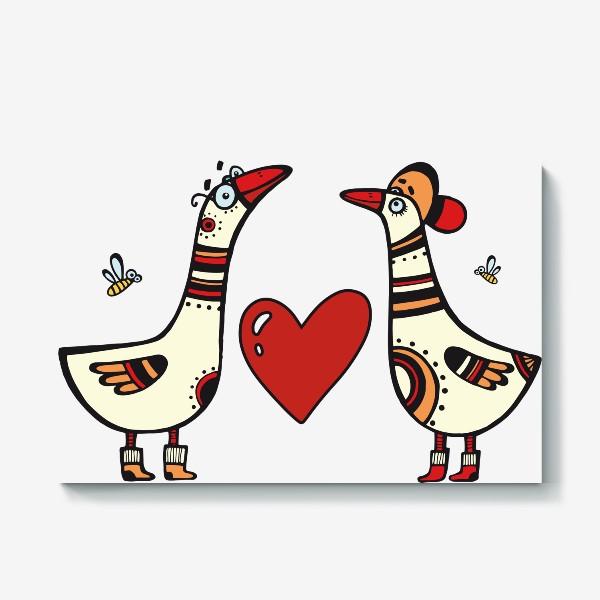 Холст «два веселых гуся»