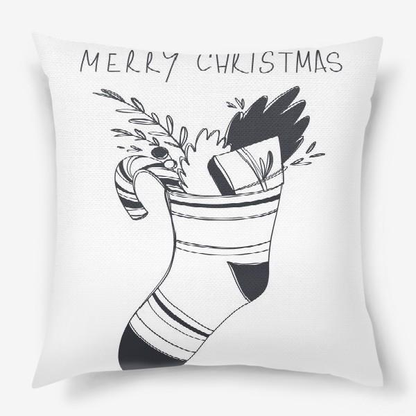 Подушка «Рождественский принт носок со сладким и подарком и надписью с новым годом»