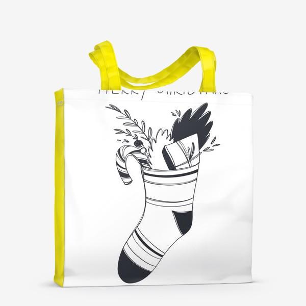 Сумка-шоппер «Рождественский принт носок со сладким и подарком и надписью с новым годом»