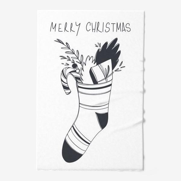 Полотенце «Рождественский принт носок со сладким и подарком и надписью с новым годом»