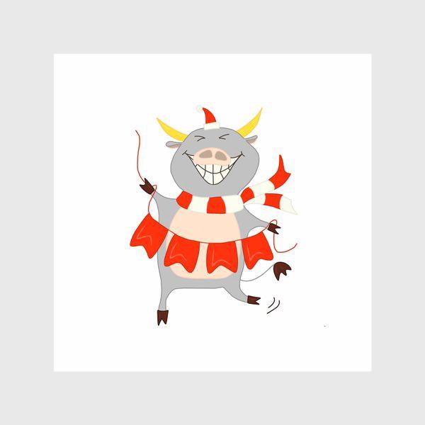 Шторы «Бычок с новогодней гирляндой Флажки Рождество»