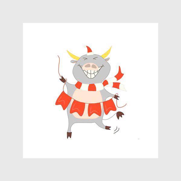 Скатерть «Бычок с новогодней гирляндой Флажки Рождество»