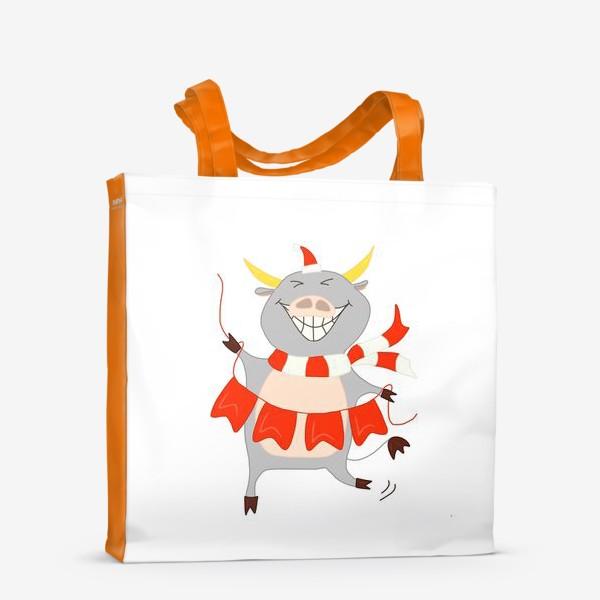 Сумка-шоппер «Бычок с новогодней гирляндой Флажки Рождество»