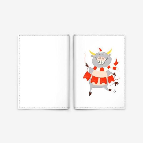 Обложка для паспорта «Бычок с новогодней гирляндой Флажки Рождество»