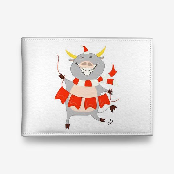 Кошелек «Бычок с новогодней гирляндой Флажки Рождество»