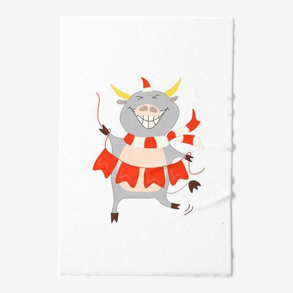 Полотенце «Бычок с новогодней гирляндой Флажки Рождество»