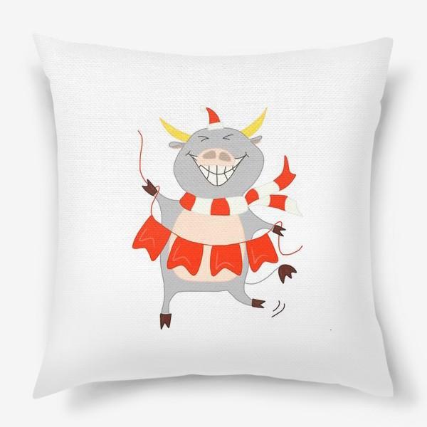 Подушка «Бычок с новогодней гирляндой Флажки Рождество»