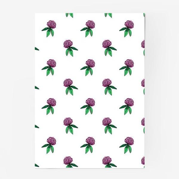 Постер «Нежный орнамент из цветов розового клевера и зеленых листиков»