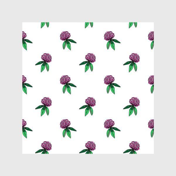 Шторы «Нежный орнамент из цветов розового клевера и зеленых листиков»